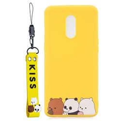 Yellow Bear Family Soft Kiss Candy Hand Strap Silicone Case for OnePlus 7