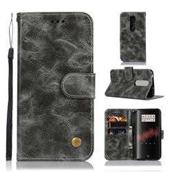 Luxury Retro Leather Wallet Case for OnePlus 7 - Gray