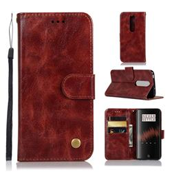 Luxury Retro Leather Wallet Case for OnePlus 7 - Wine Red