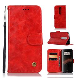 Luxury Retro Leather Wallet Case for OnePlus 7 - Red