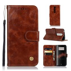 Luxury Retro Leather Wallet Case for OnePlus 7 - Brown