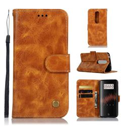 Luxury Retro Leather Wallet Case for OnePlus 7 - Golden