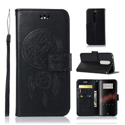 Intricate Embossing Owl Campanula Leather Wallet Case for OnePlus 7 - Black