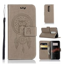 Intricate Embossing Owl Campanula Leather Wallet Case for OnePlus 7 - Grey
