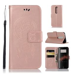 Intricate Embossing Owl Campanula Leather Wallet Case for OnePlus 7 - Rose Gold