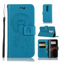 Intricate Embossing Owl Campanula Leather Wallet Case for OnePlus 7 - Blue