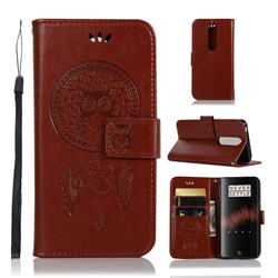 Intricate Embossing Owl Campanula Leather Wallet Case for OnePlus 7 - Brown