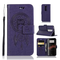 Intricate Embossing Owl Campanula Leather Wallet Case for OnePlus 7 - Purple