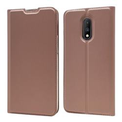 Ultra Slim Card Magnetic Automatic Suction Leather Wallet Case for OnePlus 7 - Rose Gold