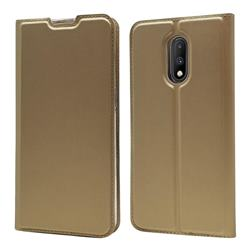Ultra Slim Card Magnetic Automatic Suction Leather Wallet Case for OnePlus 7 - Champagne