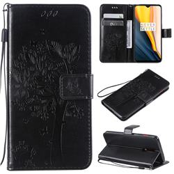 Embossing Butterfly Tree Leather Wallet Case for OnePlus 7 - Black