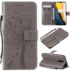 Embossing Butterfly Tree Leather Wallet Case for OnePlus 7 - Grey