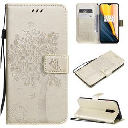 Embossing Butterfly Tree Leather Wallet Case for OnePlus 7 - Champagne