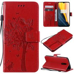 Embossing Butterfly Tree Leather Wallet Case for OnePlus 7 - Red