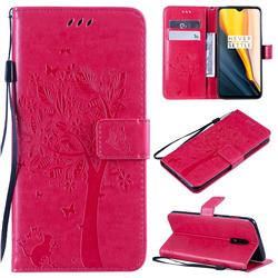 Embossing Butterfly Tree Leather Wallet Case for OnePlus 7 - Rose