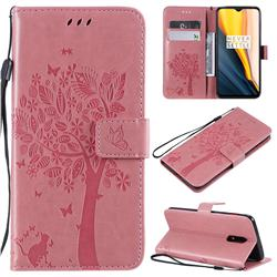 Embossing Butterfly Tree Leather Wallet Case for OnePlus 7 - Pink