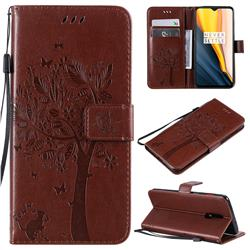 Embossing Butterfly Tree Leather Wallet Case for OnePlus 7 - Coffee