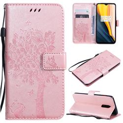 Embossing Butterfly Tree Leather Wallet Case for OnePlus 7 - Rose Pink