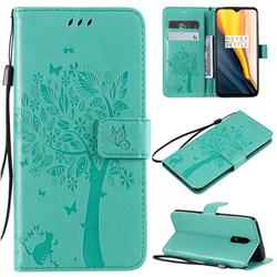 Embossing Butterfly Tree Leather Wallet Case for OnePlus 7 - Cyan
