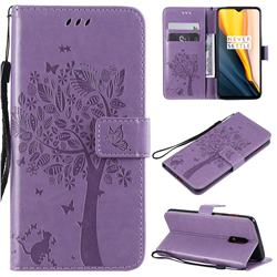 Embossing Butterfly Tree Leather Wallet Case for OnePlus 7 - Violet