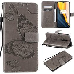 Embossing 3D Butterfly Leather Wallet Case for OnePlus 7 - Gray