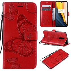 Embossing 3D Butterfly Leather Wallet Case for OnePlus 7 - Red