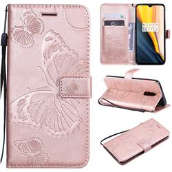 Embossing 3D Butterfly Leather Wallet Case for OnePlus 7 - Rose Gold