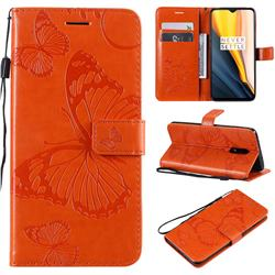 Embossing 3D Butterfly Leather Wallet Case for OnePlus 7 - Orange