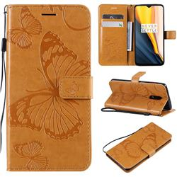 Embossing 3D Butterfly Leather Wallet Case for OnePlus 7 - Yellow