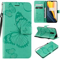 Embossing 3D Butterfly Leather Wallet Case for OnePlus 7 - Green