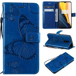 Embossing 3D Butterfly Leather Wallet Case for OnePlus 7 - Blue