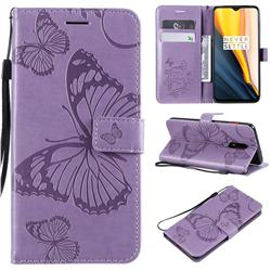 Embossing 3D Butterfly Leather Wallet Case for OnePlus 7 - Purple
