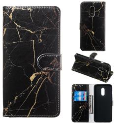 Black Gold Marble PU Leather Wallet Case for OnePlus 7
