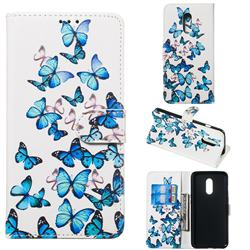 Blue Vivid Butterflies PU Leather Wallet Case for OnePlus 7