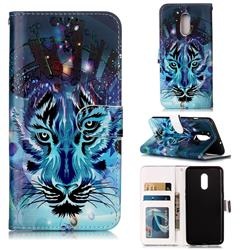 Ice Wolf 3D Relief Oil PU Leather Wallet Case for OnePlus 7