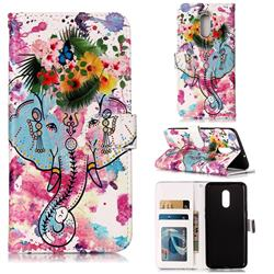 Flower Elephant 3D Relief Oil PU Leather Wallet Case for OnePlus 7