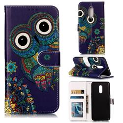 Folk Owl 3D Relief Oil PU Leather Wallet Case for OnePlus 7