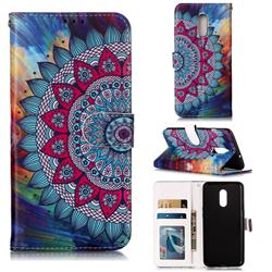 Mandala Flower 3D Relief Oil PU Leather Wallet Case for OnePlus 7
