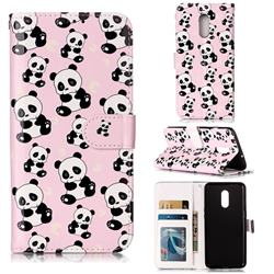 Cute Panda 3D Relief Oil PU Leather Wallet Case for OnePlus 7