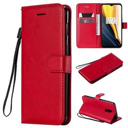 Retro Greek Classic Smooth PU Leather Wallet Phone Case for OnePlus 7 - Red
