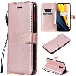 Retro Greek Classic Smooth PU Leather Wallet Phone Case for OnePlus 7 - Rose Gold