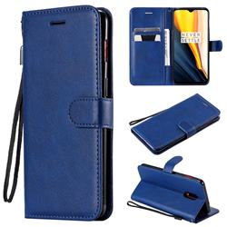 Retro Greek Classic Smooth PU Leather Wallet Phone Case for OnePlus 7 - Blue
