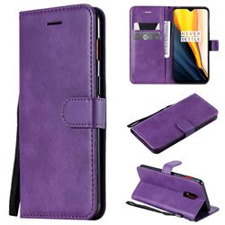 Retro Greek Classic Smooth PU Leather Wallet Phone Case for OnePlus 7 - Purple