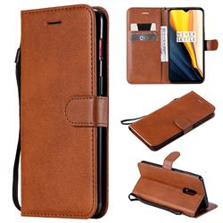 Retro Greek Classic Smooth PU Leather Wallet Phone Case for OnePlus 7 - Brown
