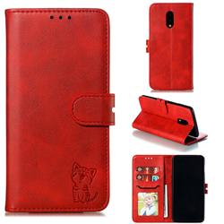 Embossing Happy Cat Leather Wallet Case for OnePlus 7 - Red