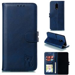 Embossing Happy Cat Leather Wallet Case for OnePlus 7 - Blue