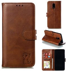 Embossing Happy Cat Leather Wallet Case for OnePlus 7 - Brown