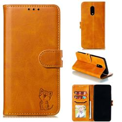 Embossing Happy Cat Leather Wallet Case for OnePlus 7 - Yellow