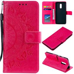 Intricate Embossing Datura Leather Wallet Case for OnePlus 7 - Rose Red
