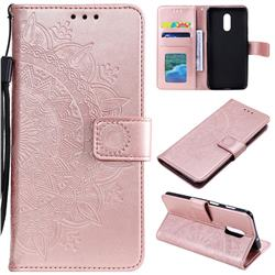 Intricate Embossing Datura Leather Wallet Case for OnePlus 7 - Rose Gold